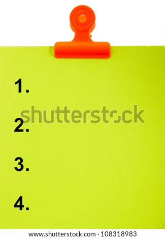 Numbered Clipboard Shows List Or Top 4