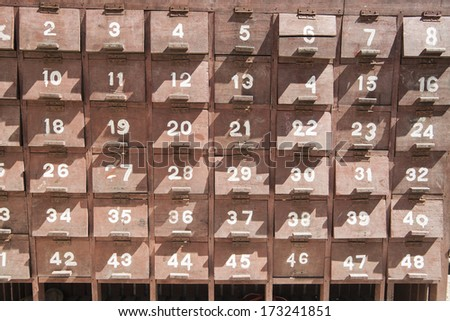 Numbered locker boxes outside the Kuthodaw Pagoda, containing the 729 stupas known as the world's biggest book.