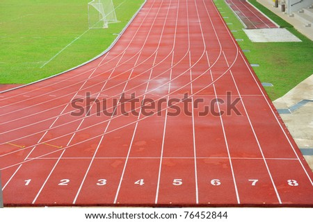 Numbered Running Track At  A Sport Stadium