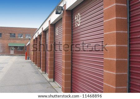 Numbered Storage Unit Doors and its parking lot