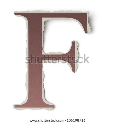 Numbers and letters collection, vintage alphabet based on newspaper cutouts. Letter F on torn paper, 3d render