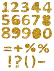 Numbers and mathematical symbols of golden glitter on white background