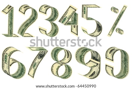 Numbers and percent from dollars. All banknotes different. Isolated on white
