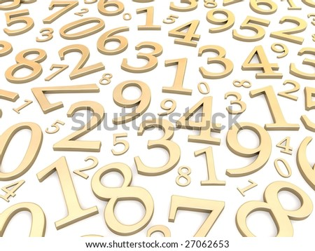 Numbers background. 3d rendered illustration