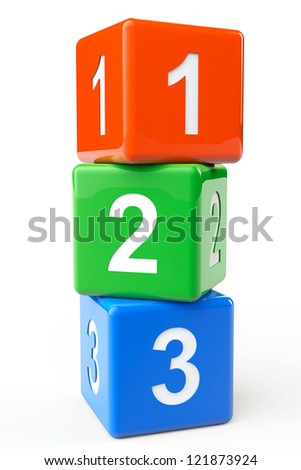 Numbers colorful blocks on a white background