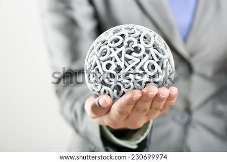 Numbers forming a sphere on the women's hand #230699974