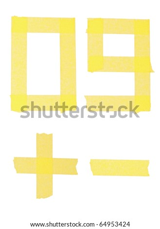 Numbers from a sticky ribbon. Isolation on a white background