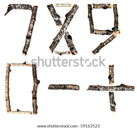 Numbers from the dry branches of birch are isolated on a white background
