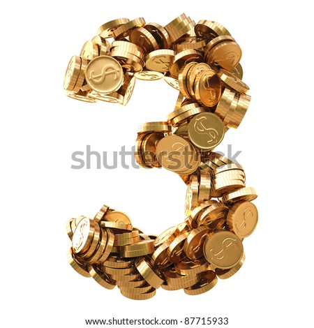 numbers from the golden coins. isolated on white. - stock photo