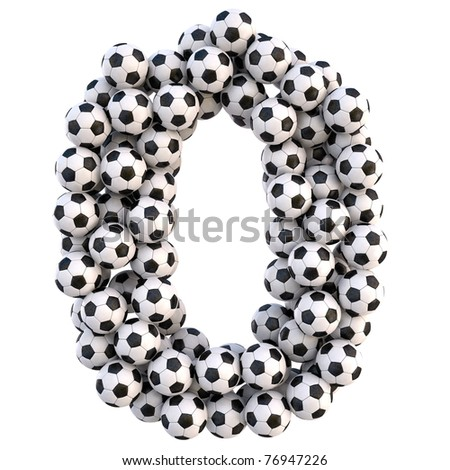numbers from the soccer balls. isolated on white. with clipping path.