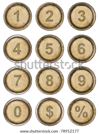 Numbers, grunge typewriter keys in white background