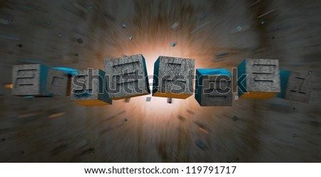 Numbers in cubes throwed by explosion.Colored and blurred background.