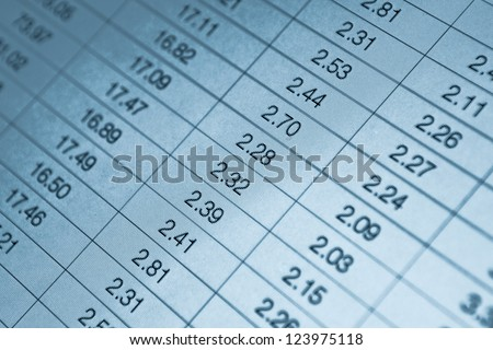 Numbers in table displayed on the computer monitor