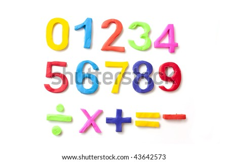 numbers made from play doh, making childrens number shapes - stock photo