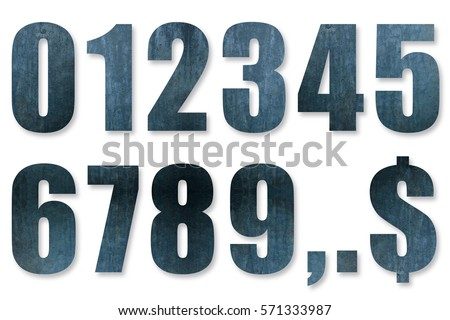 Numbers made of iron, numbers, graphic materials, 0 to 9, Shaded numbers, shaded #571333987