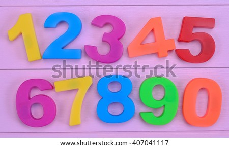Numbers on purple wooden table