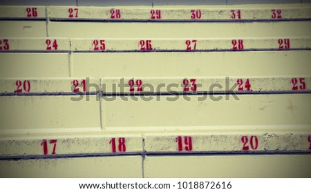 numbers on the stairs in the...