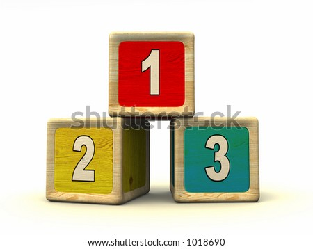 Numbers on wooden cubes. CG illustration.