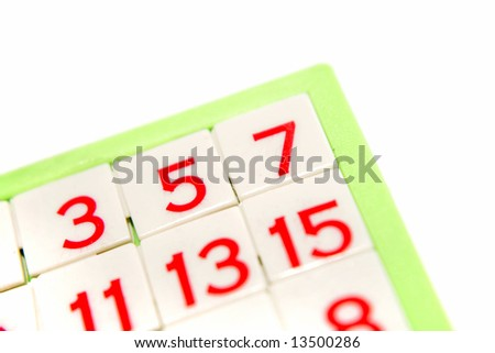 Numbers puzzle over white background