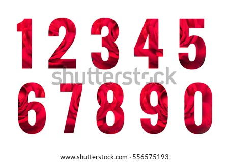 Numbers set isolated on white background. Abstract collection. Design - element #556575193