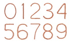 Numbers set  made of copper wire  isolated on white background