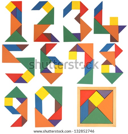 Numbers set, tangram. Isolated on a white background.