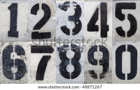 Numbers 0 to 9 Painted Stencils on Grungy Surface
