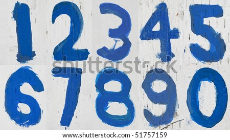 Numbers 0 to 9 Painted with rough blue brush on grungy White wood
