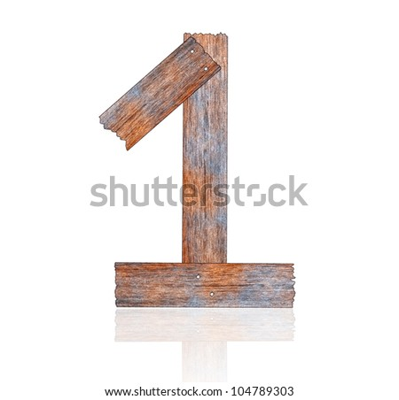 Numbers 1 with wooden floors and white.