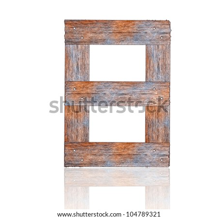 Numbers 8 with wooden floors and white. - stock photo