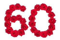 Numeral 60 made of red roses on a white isolated background. Red roses. Element for decoration. Sixty