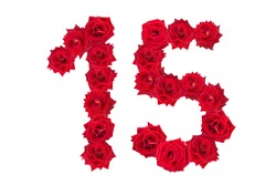 Numeral 15 made of red roses on a white isolated background. Red roses. Element for decoration. fifteen