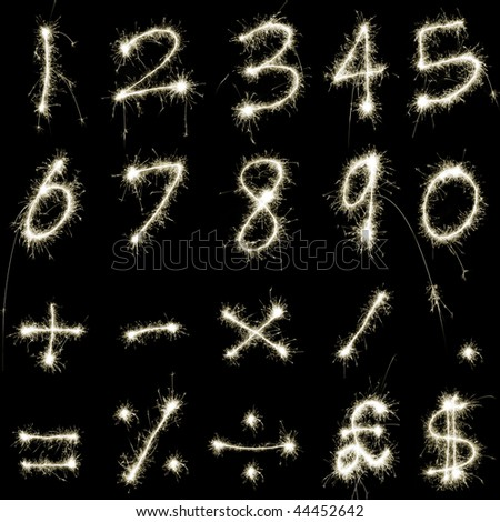 numeric characters and symbols composed of sparkler trails