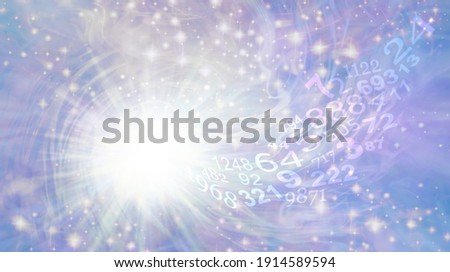 Numerology Vortex Ethereal Background - Bright white light burst rotating star with sparkles on ethereal pastel blue purple with a flow of random numbers spiraling towards the white light  Photo stock ©