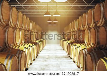 Numerous wooden barrels in winery. 3D Render Imagine de stoc ©