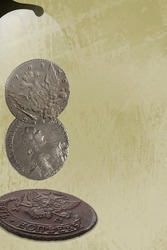 Numismatics. Collage with coins of Tsarist Russia. Copy space of your text.