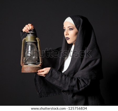 Nun Wth Kerosene Lamp Beautiful Girl In Nuns Outfit