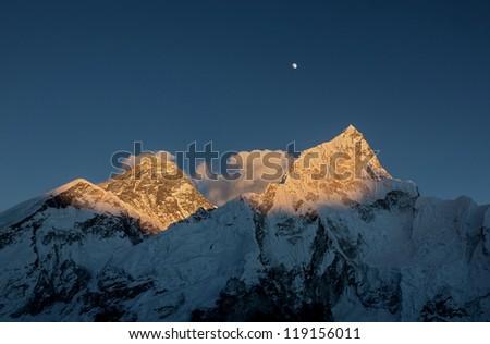 Nuptse (7864 m) at sunset (view from Kala Patthar) - Everest region, Nepal