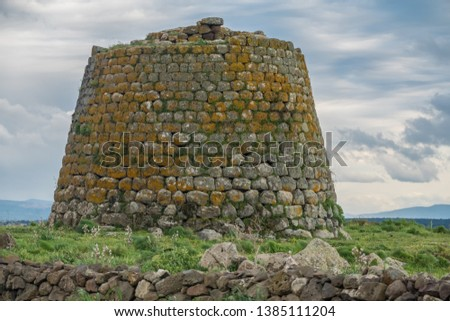 Nuraghe near Nuoro, Central Sardinia, Italy. Among thousands of ancient megalithic structures built during the Nuragic Age between 1900 and 730B.C. #1385111204