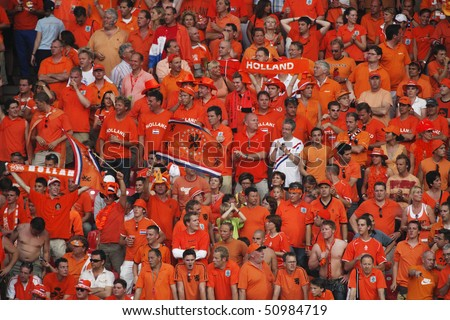 NUREMBERG, GERMANY - JUNE 25:  Holland supporters in the stands during a round 16  World Cup soccer match between Portugal and the Netherlands June 25, 2006 in Nuremberg, Germany.