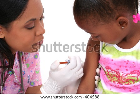 Nurse about to give small girl an injection.