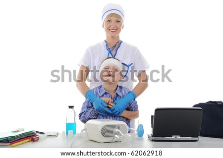 nurse and the little patient. Isolated on white background