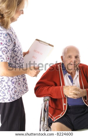 nurse checking elderly patient - stock photo