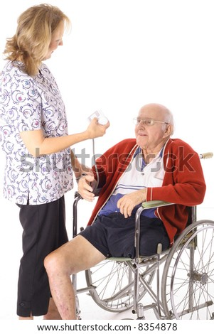 nurse checking handicap patient