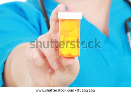 Nurse holds medicine