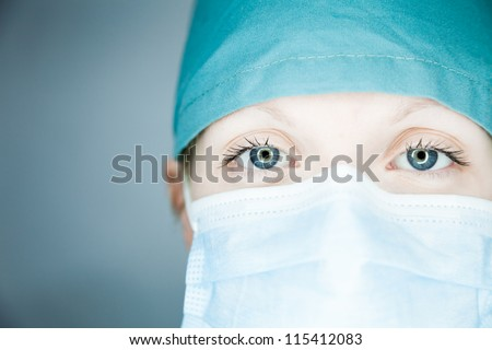 Nurse looking at you (close-up)