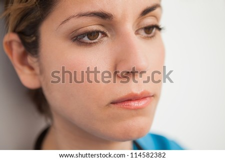 Nurse looking disappointed close up