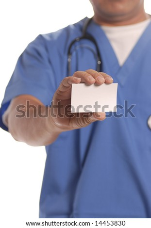 nurse or doctor holding blank card