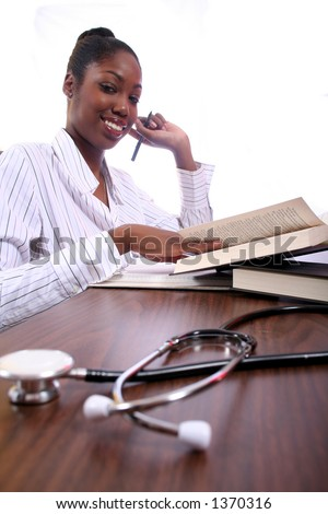 Nurse or Student Studying African American Woman