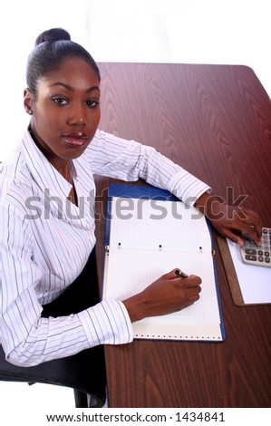 Nurse or Student Studying African Amrican Woman